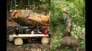 Moving the Log Cabin to the Wilderness Property, Making a Log Bench and Fireside Chat