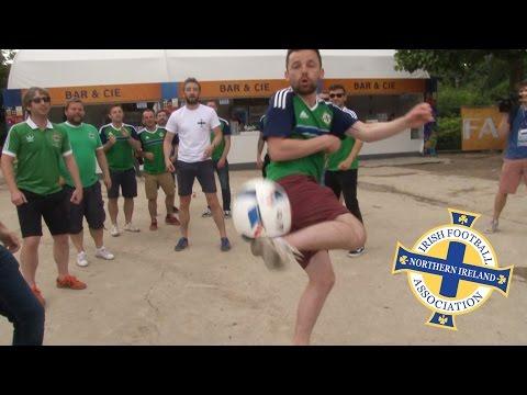 Northern Ireland Fans Juggle Football While Singing