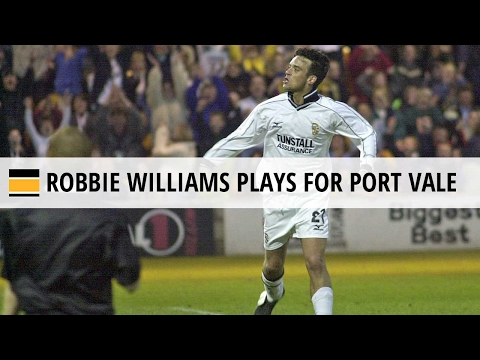 Robbie Williams plays football for Port Vale, 2001