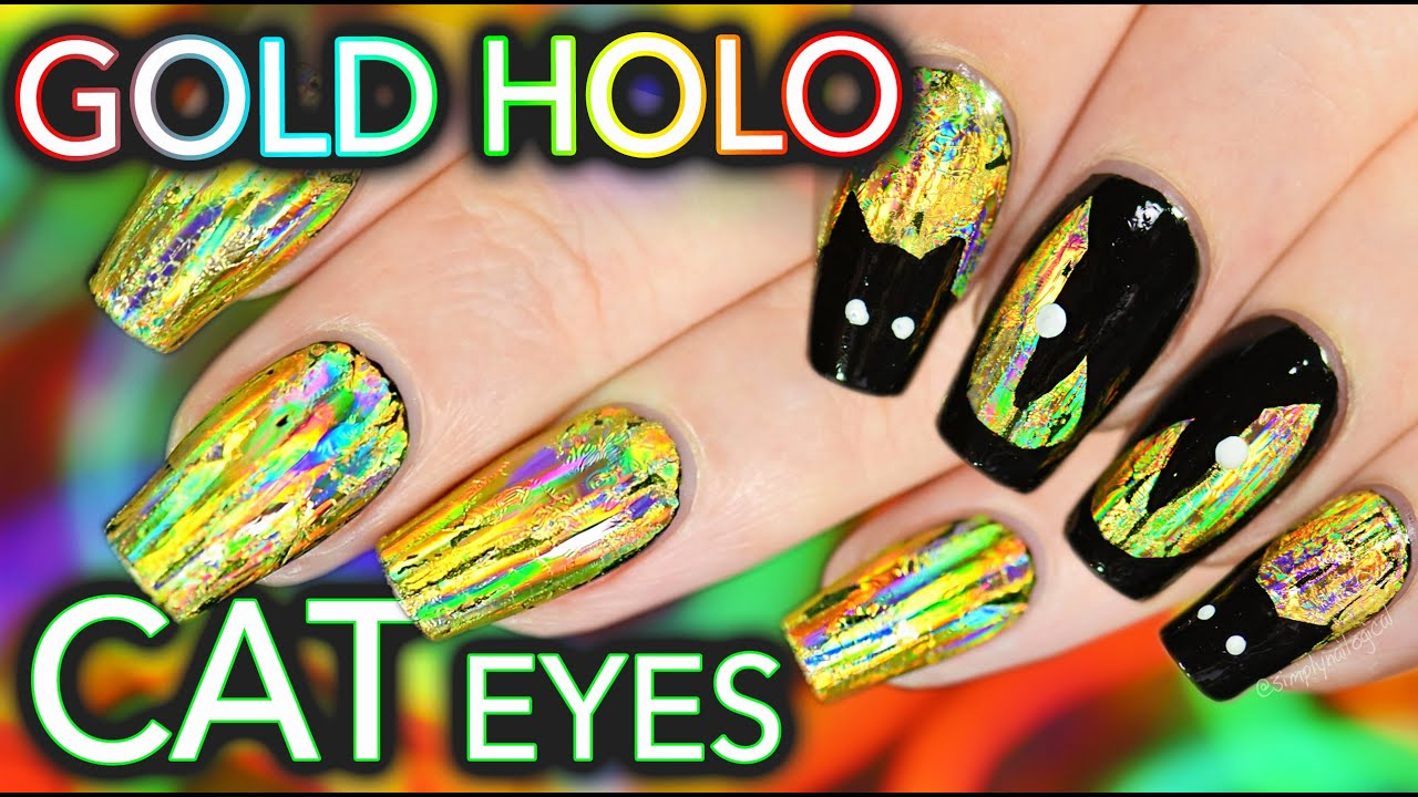 DIY EASY Gold Glowing Nails & Cat Eyes! - YouTube