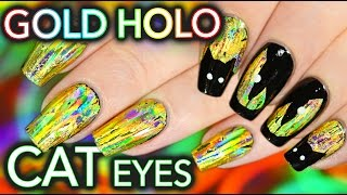 DIY EASY Gold Glowing Nails & Cat Eyes!