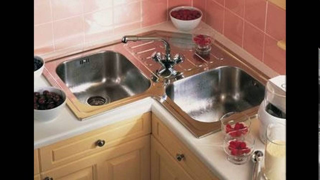 Small l shaped kitchen design corner sink youtube for Small kitchen designs with corner sinks