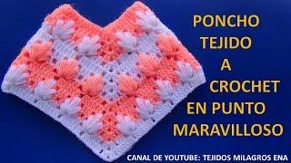 Poncho tejido a crochet #4 en punto maravilloso paso a paso
