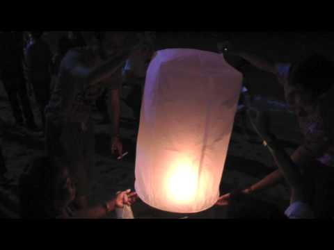 Floating Paper Lanterns and Fireworks on Pattaya Beach   New Year's Eve   Thailand HD Video