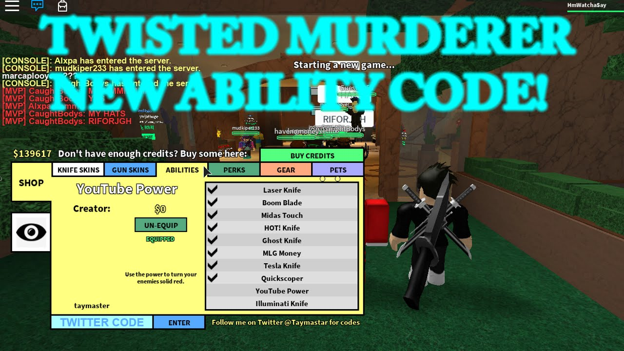 Twisted Murderer Youtube Ability Code Roblox Youtube