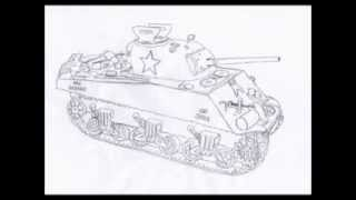 How to draw M1 Sherman tank step by step (HD)