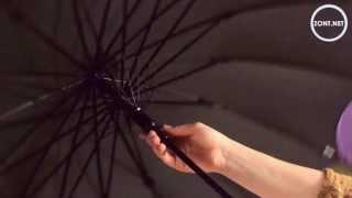 Зонт трость женский Три Слона Черный с разноцветными вставками по кругу