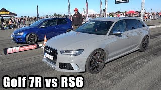 550HP Volkswagen Golf 7 R BullX Exhaust vs Audi RS6 Avant C7