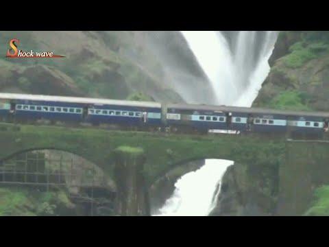 Train crossing through Dudhsagar waterfall (Goa) in monsoon Aug 09,2017 | shock wave