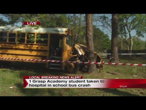 One Grasp Academy student taken to hospital in school bus crash