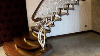 Перила 127  Кованые для винтовой лестницы ступени из дерева в Днепропетровске, в Днепре фото видео(, 2016-11-28T14:41:05.000Z)