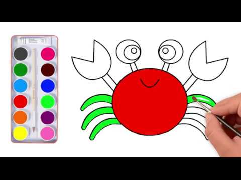 How to Draw Sea Animals l Super Coloring Page Crab l Learn Colors for Kids Coloring