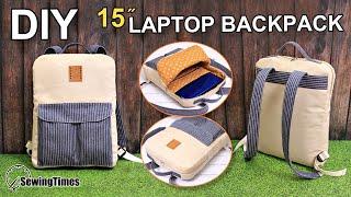 DIY 15″ LAPTOP BACKPACK | 백팩 만들기 | Slim BackPack Sewing Tutorial | Laptop Bag Making [sewingtimes]