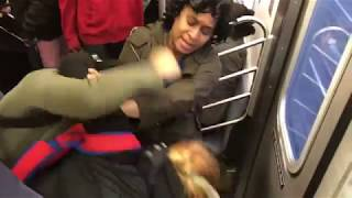 Two Latina Women Fighting In The Subway!!!!!!