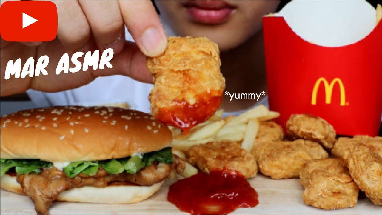 asmr eating sounds  mcdonalds fries nuggets and burger