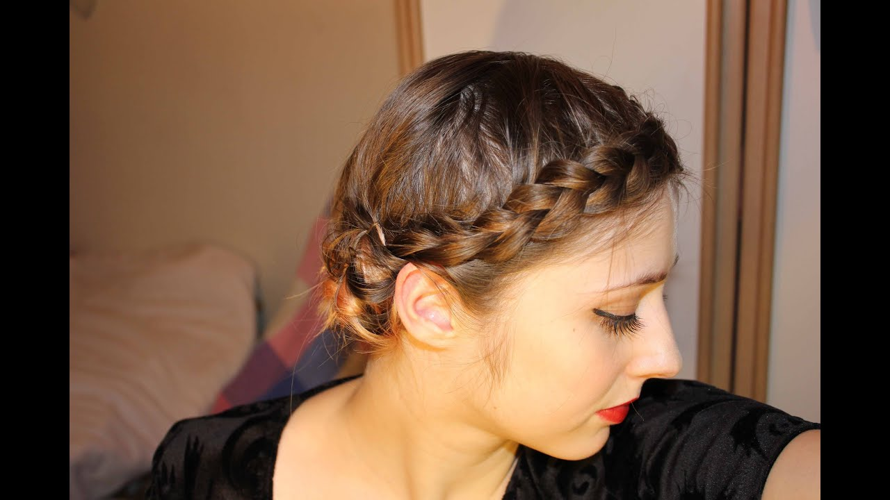 easy braided updo for short, fine hair - youtube