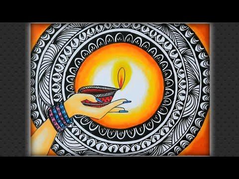 Diwali Mandala Painting Very Easy For Beginners Mandala Diwali Drawing Mandala Zentangle Art Youtube