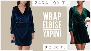 KRUVAZE (WRAP) Elbise Nasıl Dikilir? How to Make a Wrap Dress? // KALIPSIZ