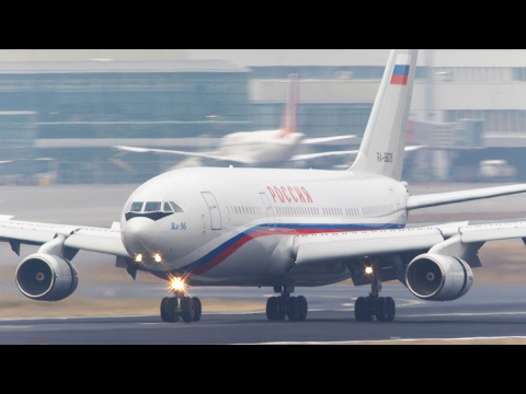 Russian Air Force One  Ilyushin IL96 LANDING in 4K