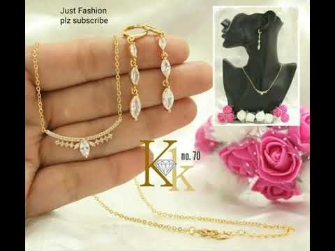 designer-one-gram-gold-chain-pendant-and-earring-combo-sets-designs-with-cz-stone's