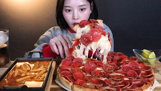 ENG SUB)Pepperoni pizza with cheese bomb and spicy tteokbokki mukbang ASMR Korean Eating Show