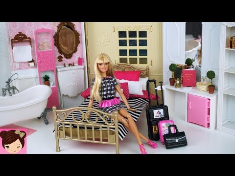 Barbie Doll Grand Hotel Bedroom , Pink Bathroom Playset - Doll Hotel Miniatures