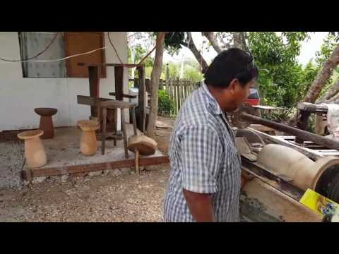 Using a homemade lathe to build tables in Belize