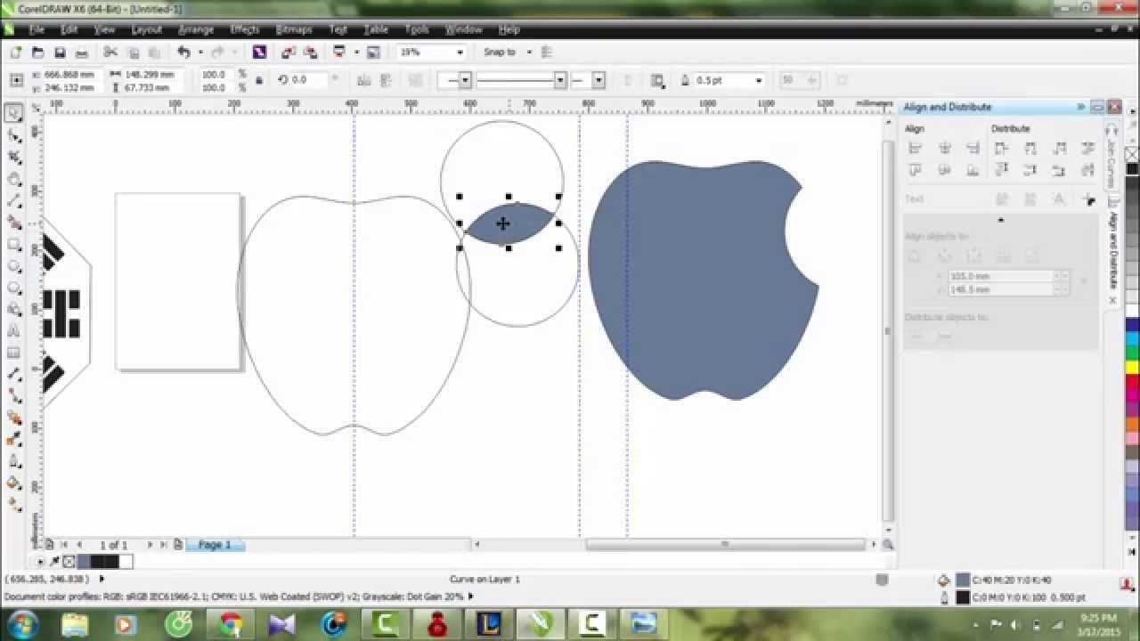 hướng dẫn làm logo nike, apple, vẽ hình bát quoái bằng corel x6