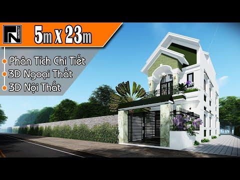 TNA124 - Mẫu nhà ống 2 tầng 1 tum đẹp mái thái 5x23m với 4 phòng ngủ | Kiến trúc TN
