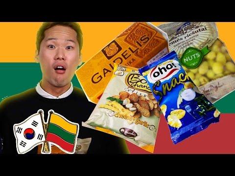 Koreans Taste Lithuanian Snacks [Korean Bros]