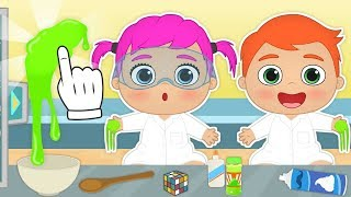 BABY ALEX AND LILY ⚗ How to make Green Slime | DIY Slime Cartoons