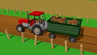 Red Tractor Supplies and Car Wash | Czerwony Traktor Dostawa Drewna na Opał Bajka Traktor AutoMyjnia