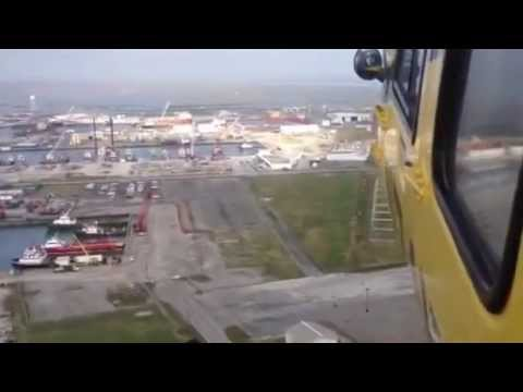 Offshore helicopter approach in Fourchon LA