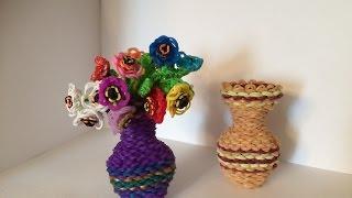 Ваза с Цветами 3D из Rainbow Loom.