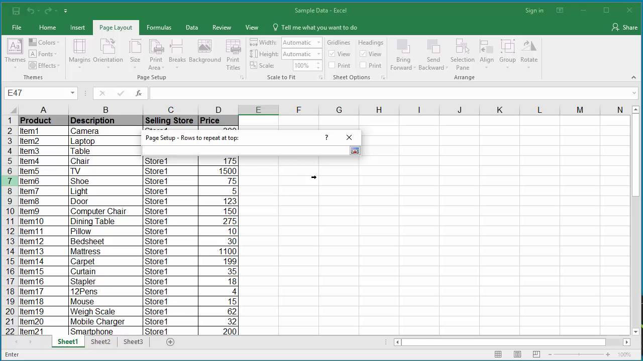 How to Repeat Rows at the Top during Printing in Excel 2016
