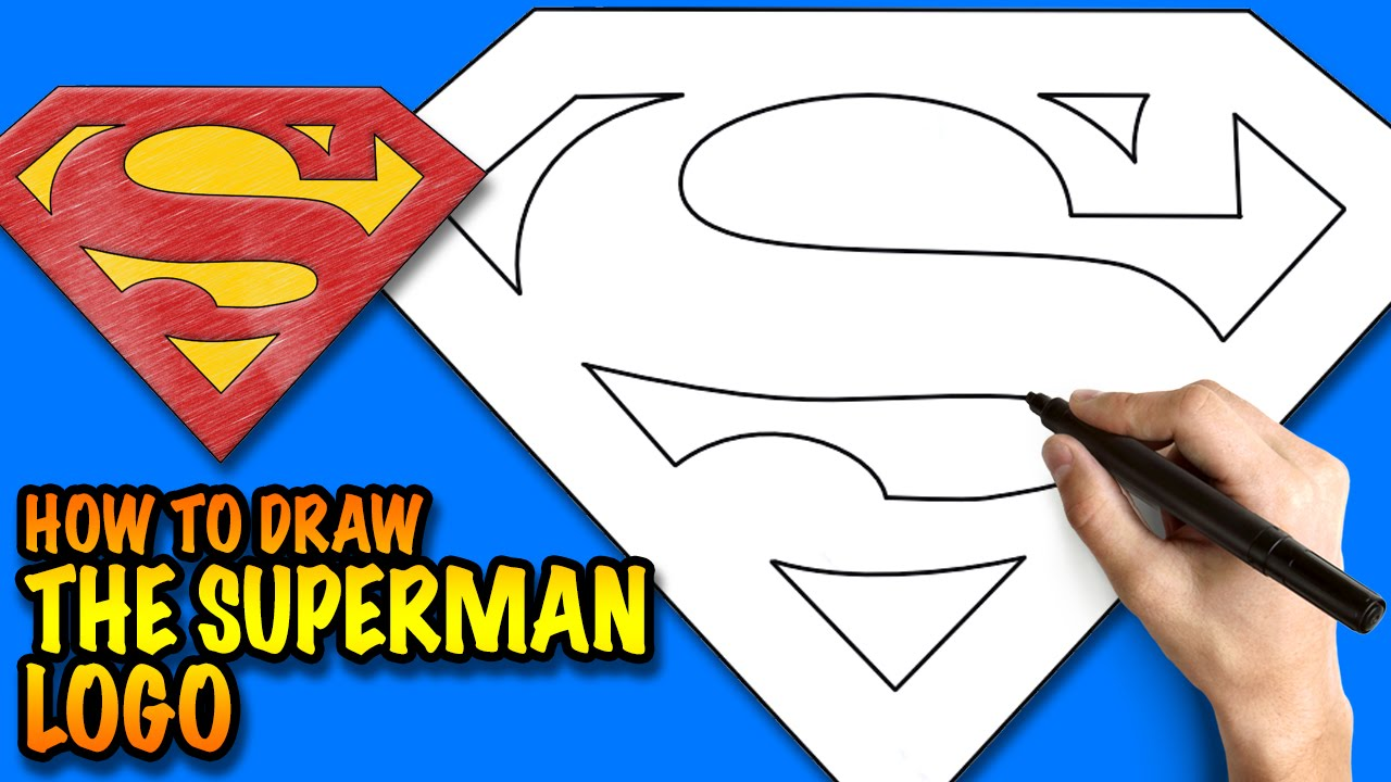 How to draw the superman logo easy step by step drawing for How to make cartoon drawings step by step