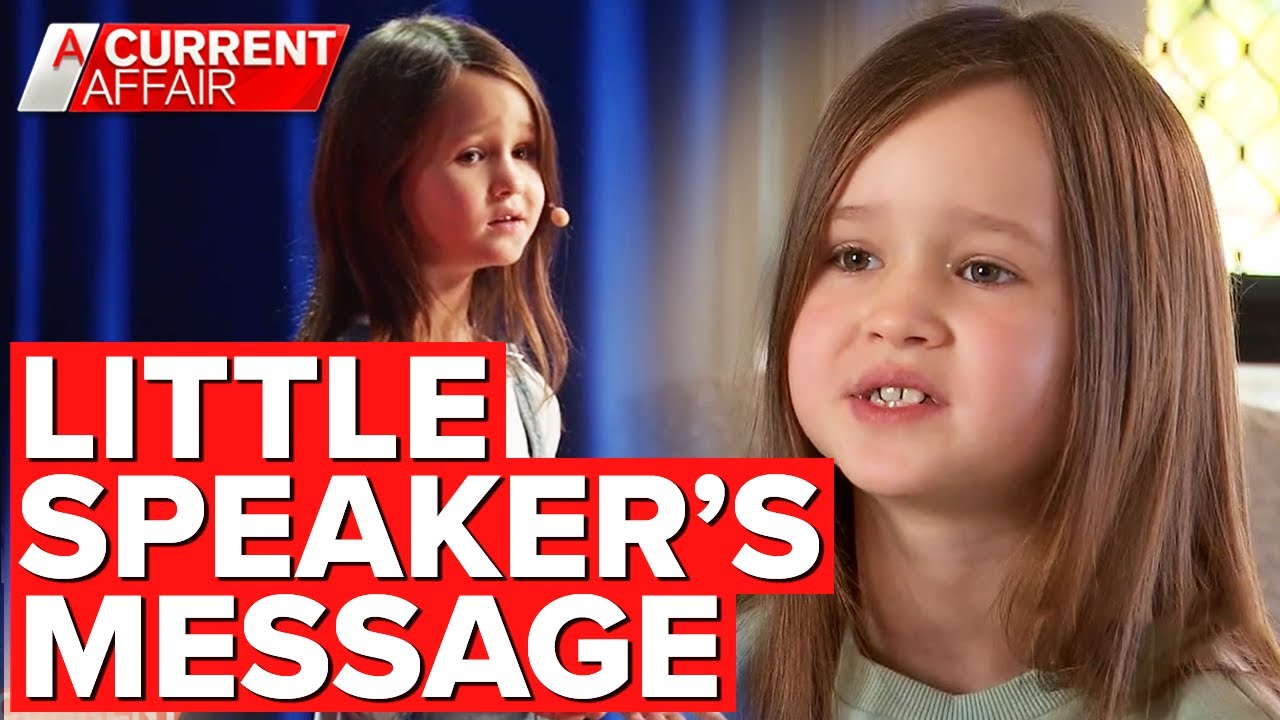 Seven-year-old girl's inspirational TED Talk | A Current Affair