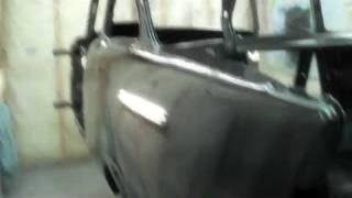 57 chevy bel air project car update painted on rotisserie