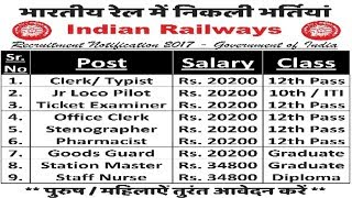 Indian Railway Recruitment 2017 | Latest Sarkari Naukri | Government Jobs 2017 Video