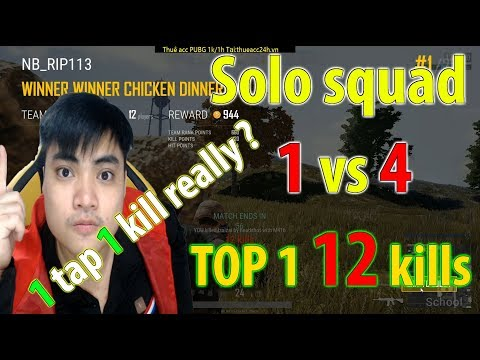 Solo squad 1 vs 4 l 1 Tap 1 Kill l 12 kills