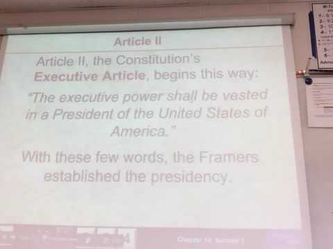 Unit 4: Article II Executive Branch (2)