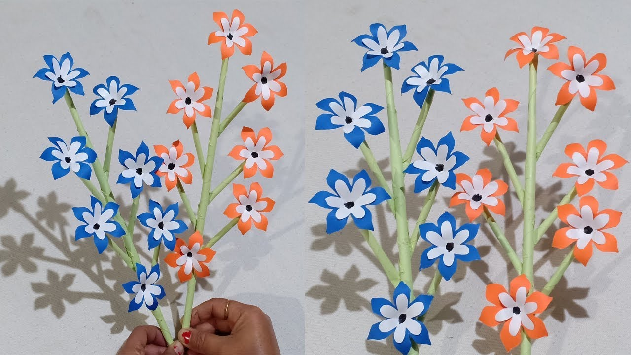 How To Make Beautiful Paper Stick Flower Decor Craft Ideas