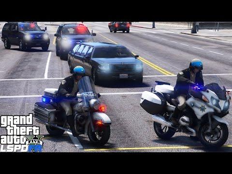 LSPDFR Police Mod 440 | Two California Highway Patrol Motorcycle Escorting The Mayor Of Los Santos