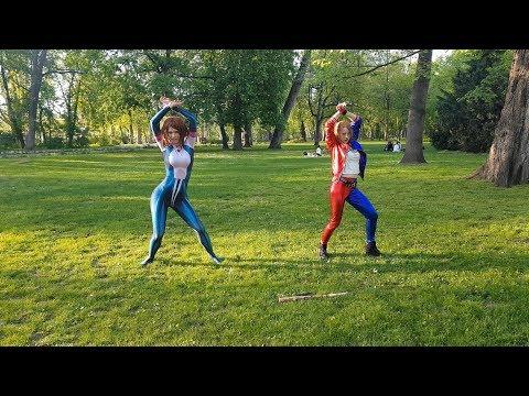 Uraraka Ochako And Harley Quinn Cosplayers Dancing Gashina In Public