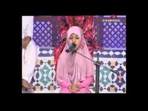Naat Sharif little girl receiting in hearth touching voice