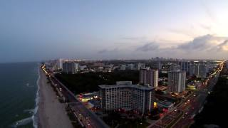 Fort Lauderdale Beach Florida at Sunset Aerial Drone Video
