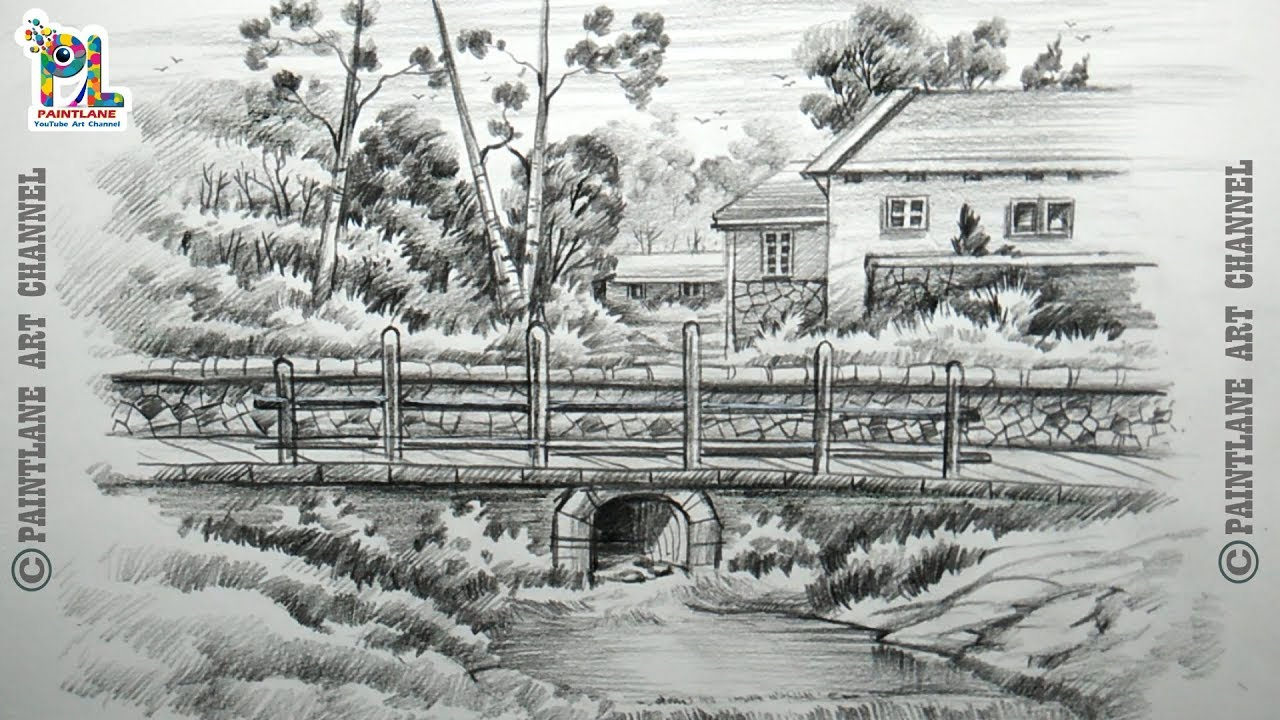How to draw sketch and shade a landscape with small bridge step by step pencil art