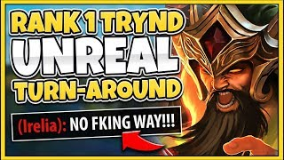 #1 TRYNDAMERE WORLD CRAZIEST 1V5 CARRY IN CHALLENGER (NEVER SURRENDER) - League of Legends