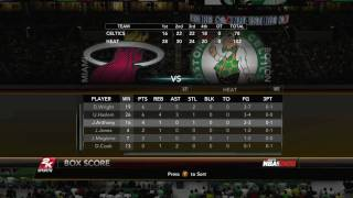 NBA 2K10 Miami Heat vs Boston Celtics - Playoff Game 2 Box Score