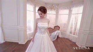 Свадебное платье А силуэт из атласа от VESILNA™ модель 3052